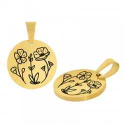 Stainless Steel 304 Charm Round Flowers 15mm (Ø1.2mm)