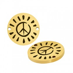 Stainless Steel 304 Connector Round Peace Sign 15mm/1.5mm