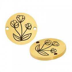 Stainless Steel 304 Connector Round Flowers 15mm/1.5mm