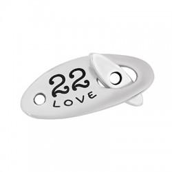 "Zamak T-Clasp ""22 Hope Love Joy"" 26x12mm"