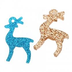 Plexi Acrylic Lucky Charm Christmas Reindeer 15x24mm