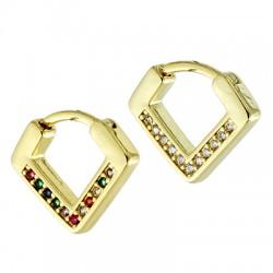 Brass Earring w/ Zircon 14x16mm/3.5mm