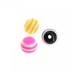 Acrylic Bead w/ Stripes 8mm