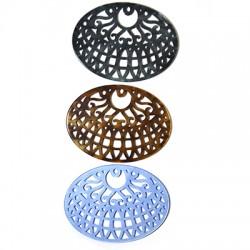 Plexi Acrylic Pendant Oval Filigree 41x55mm
