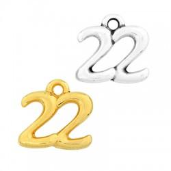 "Zamak Lucky Charm ""22"" 14x11mm"