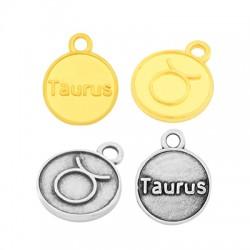 Zamak Charm Round Star Sign Taurus 12mm