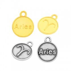 Zamak Charm Round Star Sign Aries 12mm