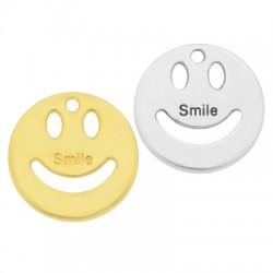 Zamak Charm Round Happy Face Smile 20mm