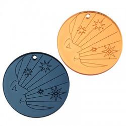 Πλέξι Ακρυλικό Μοτίφ Στρογγυλό Φεγγάρι Αστέρια 40mm
