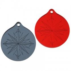 Πλέξι Ακρυλικό Μοτίφ Στρογγυλό Αστέρι Πυξίδα 30mm