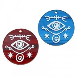 Plexi Acrylic Pendant Round Evil Eye Symbols 35mm