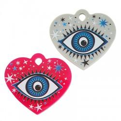 Plexi Acrylic Pendant Heart Evil Eye Stars 40x33mm