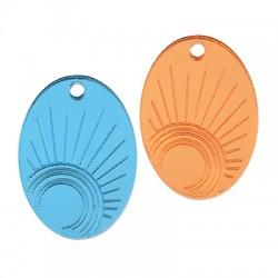 Plexi Acrylic Pendant Oval Sun 21x29mm
