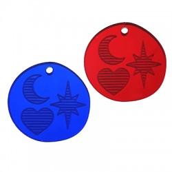 Πλέξι Ακρυλικό Μοτίφ Στρογγυλό Καρδιά Φεγγάρι Αστέρι 25mm