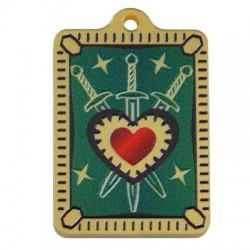 Πλέξι Ακρυλικό Μοτίφ Ταυτότητα Καρδιά Σπαθιά Ξίφος 24x33mm