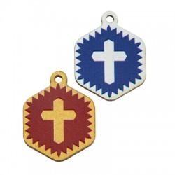 Wooden Charm Hexagon Cross 19mm