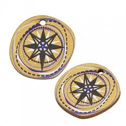 Wooden Charm Round Irregular Star 20mm