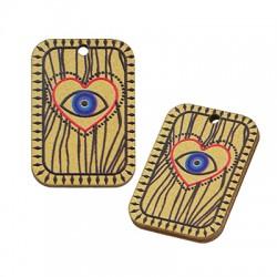 Wooden Charm Tag Heart Evil Eye 17x25mm