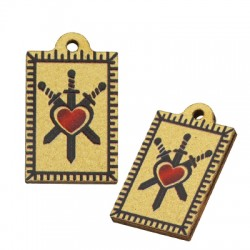 Wooden Charm Tag Heart Sword 13x20mm