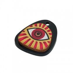 Wooden w/ Plexi Acrylic Pendant Irregular Evil Eye 20x22mm