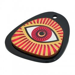 Wooden w/ Plexi Acrylic Pendant Irregular Evil Eye 39x43mm