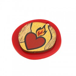 Wooden w/ Plexi Acrylic Pendant Irregular Heart 30x29mm