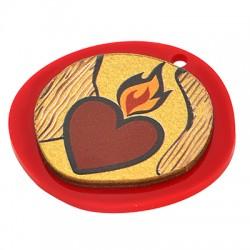 Wooden w/ Plexi Acrylic Pendant Irregular Heart 42x40mm