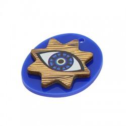 Wooden w/ Plexi Acrylic Pendant Oval Evil Eye Star 37x32mm