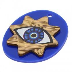 Wooden w/ Plexi Acrylic Pendant Oval Evil Eye Star  38x45mm