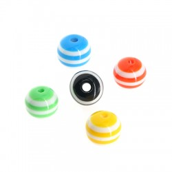 Polyester Bead Round w/ Stripes 10mm