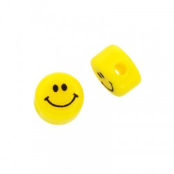 Resin Bead Round Flat Face Smile 8mm/5mm (Ø2mm)