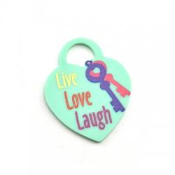 """Πλέξι Ακρυλικό Μοτίφ Καρδιά Λουκέτο """"Live Love Laugh""""32x40mm"""