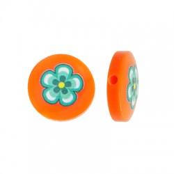 Resin Bead Round Flat w/ Flower 14mm