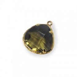 Brass Irregular Setting With Glass Stone 15x18 mm w/ 1 Ring