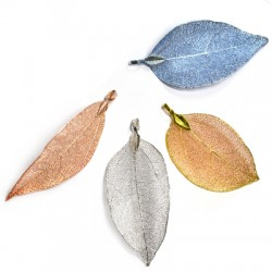 Natural Leaf Plated Pendant (~40x60mm)