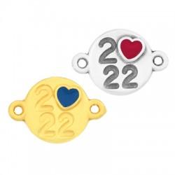"""Zamak Connector Round """"2022"""" Heart w/ Enamel 14mm"""