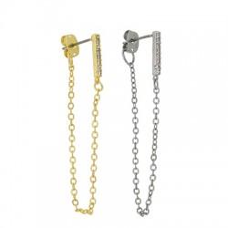 Brass Earring Chain w/ Zircon Bar & Back Safety 12mm