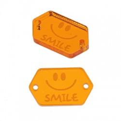 """Πλέξι Ακρυλικό Στοιχείο Εξάγωνο """"Smile"""" για Μακραμέ 20x12mm"""