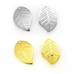Brass Pendant Leaf 16x26mm