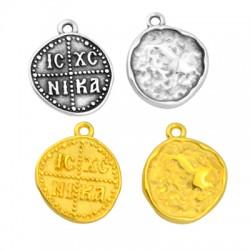 """Zamak Charm Round """"ICXC NIKA"""" 20mm"""