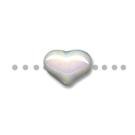 Κεραμική Χάντρα Καρδιά Περαστή με Σμάλτο 21x15mm (Ø3mm)