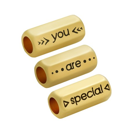"""Brass Tube Hexagon """"You are special"""" 8x19mm (Ø5mm)"""
