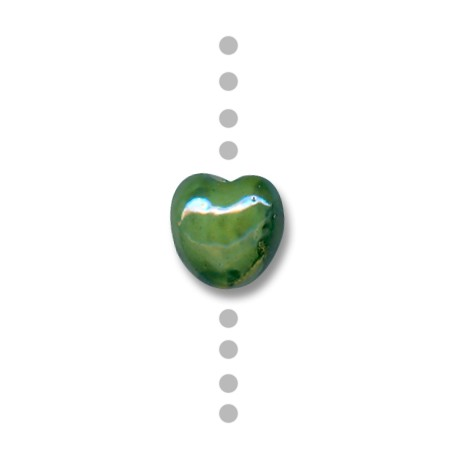 Κεραμική Χάντρα Καρδιά Περαστή με Σμάλτο 15mm (Ø2.5mm)