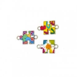 Zamak Connector Puzzle w/ Enamel 14x12mm