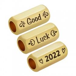 """Brass Tube Hexagon """"Luck 2022"""" 8x19mm (Ø5mm)"""