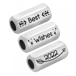"Brass Tube Hexagon w/ Wishes ""2022"" 8x19mm (Ø5mm)"