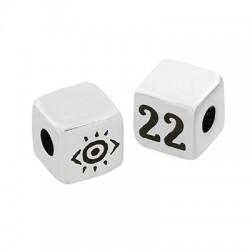 "Brass Bead Cube ""22"" w/ Evil Eye 8mm (Ø3mm)"