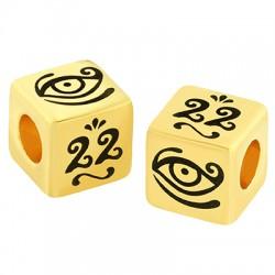 "Brass Bead Cube ""22"" w/ Evil Eye 10mm (Ø5.2mm)"