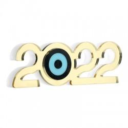 "Plexi Acrylic Lucky Deco ""2022"" w/ Evil Eye 97x33mm"