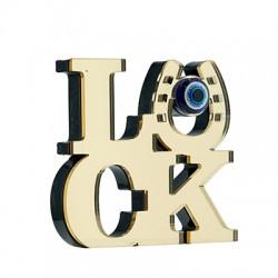 "Plexi Acrylic Deco ""Luck"" w/ Resin Evil Eye 74χ70mm"